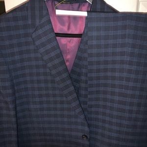 FUBU 4 button blue check suit